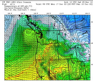 A powerful low near 975 millibars, shown here off the Washington coast at 10 p.m. Sunday night, will slam ashore over southern Vancouver Island early on Monday. As the low moves inland, gusts to 60 mph are possible in the Seattle area.