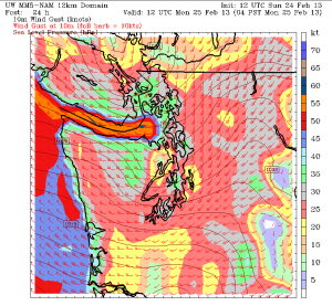 At 4 a.m., Monday, wind gusts across the Sound are forecast to be in the 30-40 mph range, according to the NAM weather model. Also note the high winds surging down the Strait toward Whidbey Island.