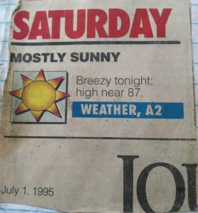 The Journal American, the now defunct newspaper for Seattle's Eastside, correctly predicted the record-tying high of 87 degrees on July 1, 1995. 18 years later, that record is history--broken by today's maximum temperature of 89.