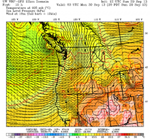 The WRF weather model from the University of Washington depicts a strong area of low pressure coming ashore on Vancouver Island tonight.