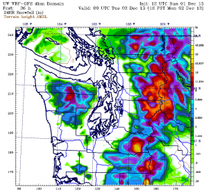The UW's WRF weather model shows very little snow  tomorrow, with the exception of Whatcom County.
