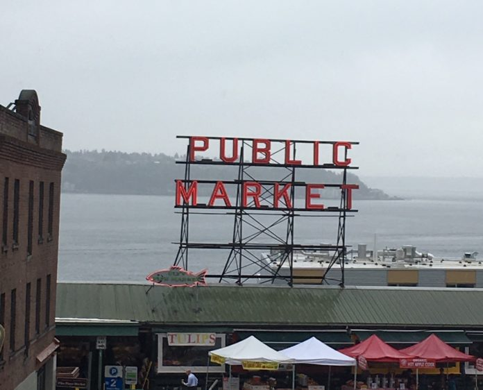 Rainy skies over Pike Place Market